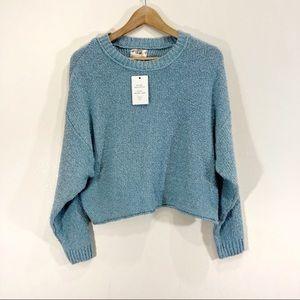 Hippie Rose Knit Blue Textured Sweater NWT Fuzzy